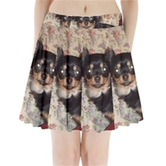 Long Haired Chihuahua In Bed Pleated Mini Skirt