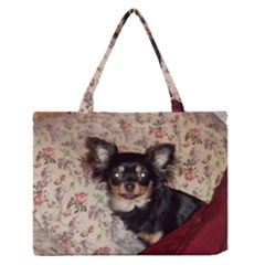 Long Haired Chihuahua In Bed Medium Zipper Tote Bag