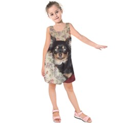 Long Haired Chihuahua In Bed Kids  Sleeveless Dress