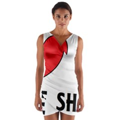 Chinese Shar Love Wrap Front Bodycon Dress