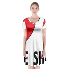 Chinese Shar Love Short Sleeve V-neck Flare Dress