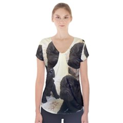 Sharpei Pups Black And Creme Short Sleeve Front Detail Top