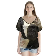 Sharpei Pups Black And Creme Flutter Sleeve Top