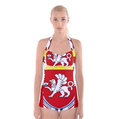 Coat of Arms of Crimea Boyleg Halter Swimsuit