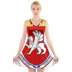Coat of Arms of Crimea V-Neck Sleeveless Skater Dress