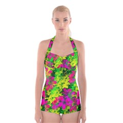 Flowers Chaos In Green, Yellow And Pinks Boyleg Halter Swimsuit