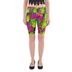 Flowers Chaos In Green, Yellow And Pinks Yoga Cropped Leggings