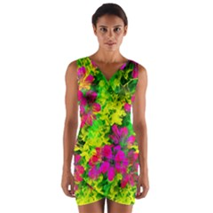 Flowers Chaos In Green, Yellow And Pinks Wrap Front Bodycon Dress