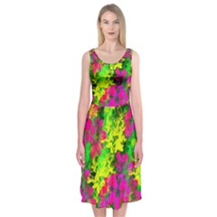 Flowers Chaos In Green, Yellow And Pinks Midi Sleeveless Dress