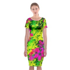 Flowers Chaos In Green, Yellow And Pinks Classic Short Sleeve Midi Dress