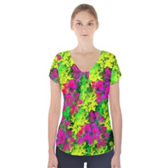 Flowers Chaos In Green, Yellow And Pinks Short Sleeve Front Detail Top