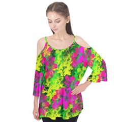 Flowers Chaos In Green, Yellow And Pinks Flutter Tees