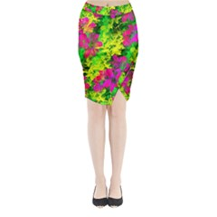 Flowers Chaos In Green, Yellow And Pinks Midi Wrap Pencil Skirt