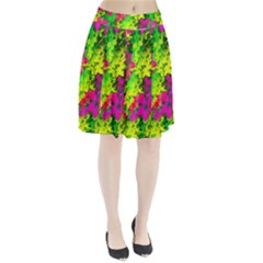 Flowers Chaos In Green, Yellow And Pinks Pleated Skirt