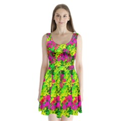 Flowers Chaos In Green, Yellow And Pinks Split Back Mini Dress