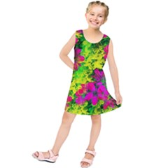 Flowers Chaos In Green, Yellow And Pinks Kids  Tunic Dress
