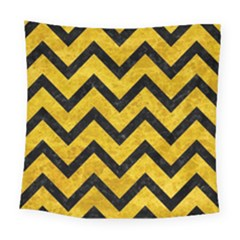 Chevron9 Black Marble & Yellow Marble (r) Square Tapestry (large)