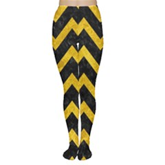 Chevron9 Black Marble & Yellow Marble Tights