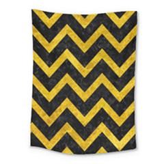 Chevron9 Black Marble & Yellow Marble Medium Tapestry
