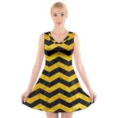 CHV3 BK-YL MARBLE V-Neck Sleeveless Skater Dress