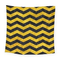 Chevron3 Black Marble & Yellow Marble Square Tapestry (large)