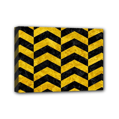 Chevron2 Black Marble & Yellow Marble Mini Canvas 7  X 5  (stretched)
