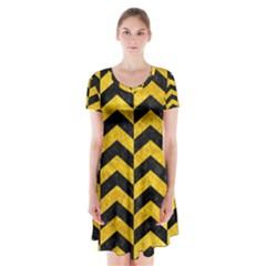 CHV2 BK-YL MARBLE Short Sleeve V-neck Flare Dress