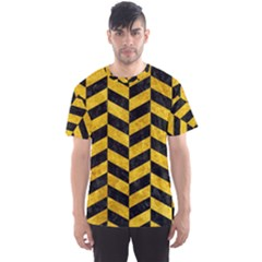 Chevron1 Black Marble & Yellow Marble Men s Sports Mesh Tee