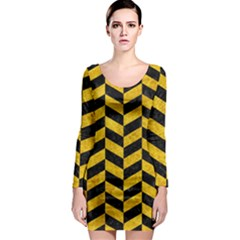 Chevron1 Black Marble & Yellow Marble Long Sleeve Bodycon Dress