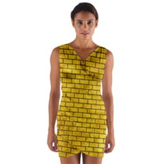 BRK1 BK-YL MARBLE (R) Wrap Front Bodycon Dress