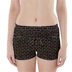 BRK1 BK-YL MARBLE Boyleg Bikini Wrap Bottoms