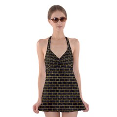 BRK1 BK-YL MARBLE Halter Swimsuit Dress