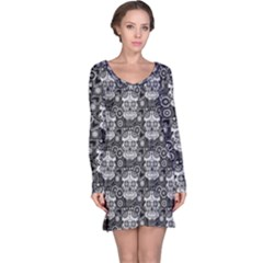 Sugar Skull Long Sleeve Nightdress