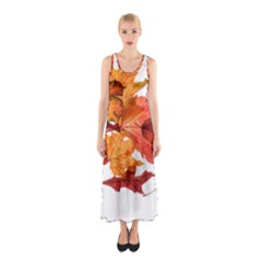 Autumn Leaves Leaf Transparent Sleeveless Maxi Dress