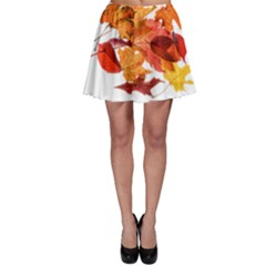 Autumn Leaves Leaf Transparent Skater Skirt