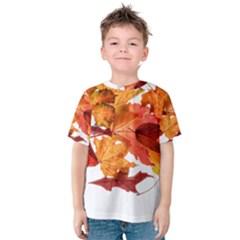 Autumn Leaves Leaf Transparent Kids  Cotton Tee