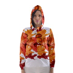 Autumn Leaves Leaf Transparent Hooded Wind Breaker (women)