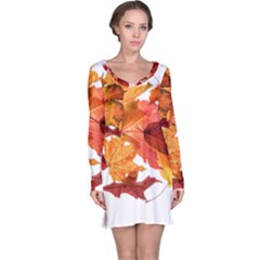 Autumn Leaves Leaf Transparent Long Sleeve Nightdress