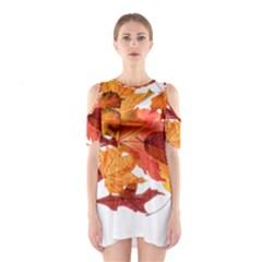 Autumn Leaves Leaf Transparent Shoulder Cutout One Piece