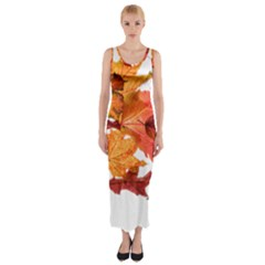 Autumn Leaves Leaf Transparent Fitted Maxi Dress