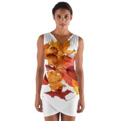 Autumn Leaves Leaf Transparent Wrap Front Bodycon Dress