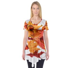 Autumn Leaves Leaf Transparent Short Sleeve Tunic