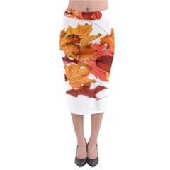 Autumn Leaves Leaf Transparent Midi Pencil Skirt