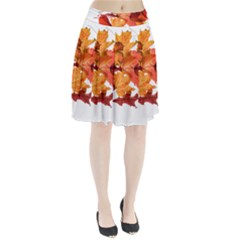 Autumn Leaves Leaf Transparent Pleated Skirt