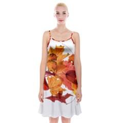 Autumn Leaves Leaf Transparent Spaghetti Strap Velvet Dress