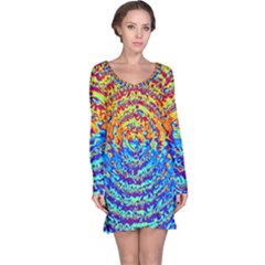 Background Color Game Pattern Long Sleeve Nightdress