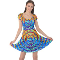 Background Color Game Pattern Cap Sleeve Dresses