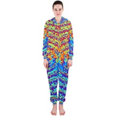Background Color Game Pattern Hooded Jumpsuit (ladies)