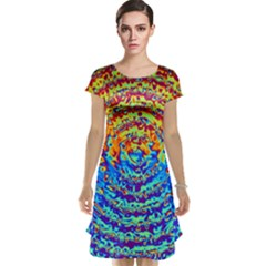 Background Color Game Pattern Cap Sleeve Nightdress