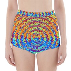 Background Color Game Pattern High-Waisted Bikini Bottoms